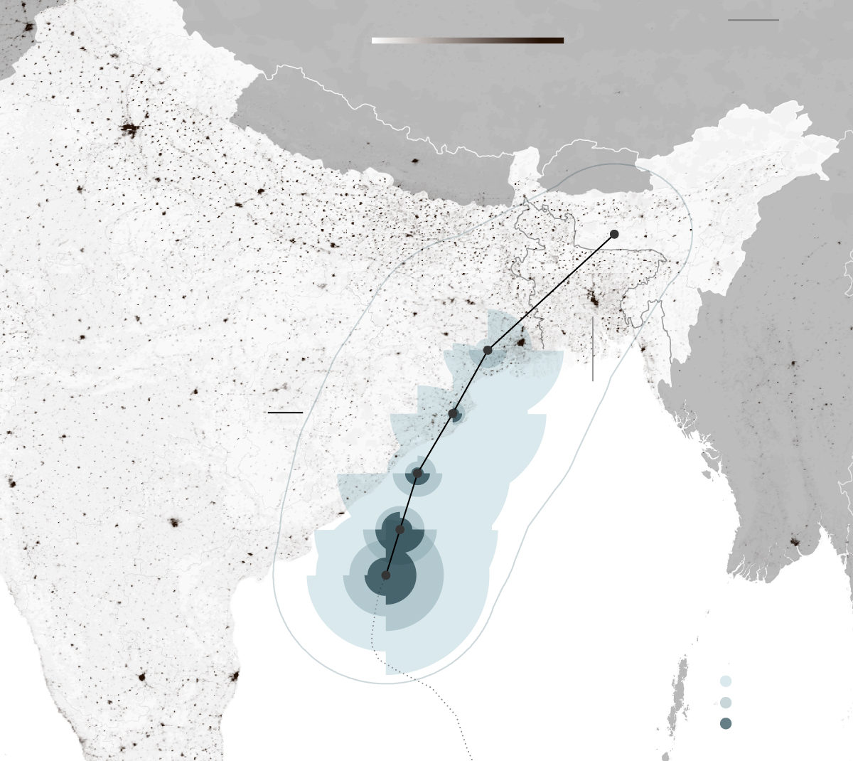 Cyclone Fani in the Bay of Bengal. Cyclone Fani's projected path as of Thursday, May 2, shows the storm tracking along the east coast of India and into Bangladesh.