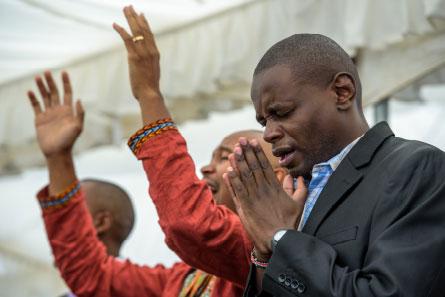 Two men praying.
