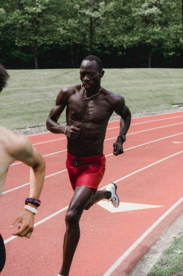 Lopez Lomong works out at a 2019 Nike training.