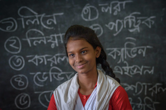 Bristy's is a life transformed through World Vision's child protection program. She no longer works in the shrimp factory, but instead is back in school.