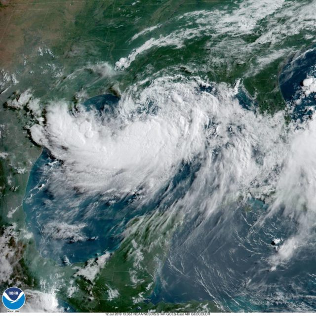 Tropical Storm Barry bfore making landfall in Louisiana, July 12, 2019. The slow-moving storm was gaining strength and likely to become a hurricane with maximum winds 74 mph or more.