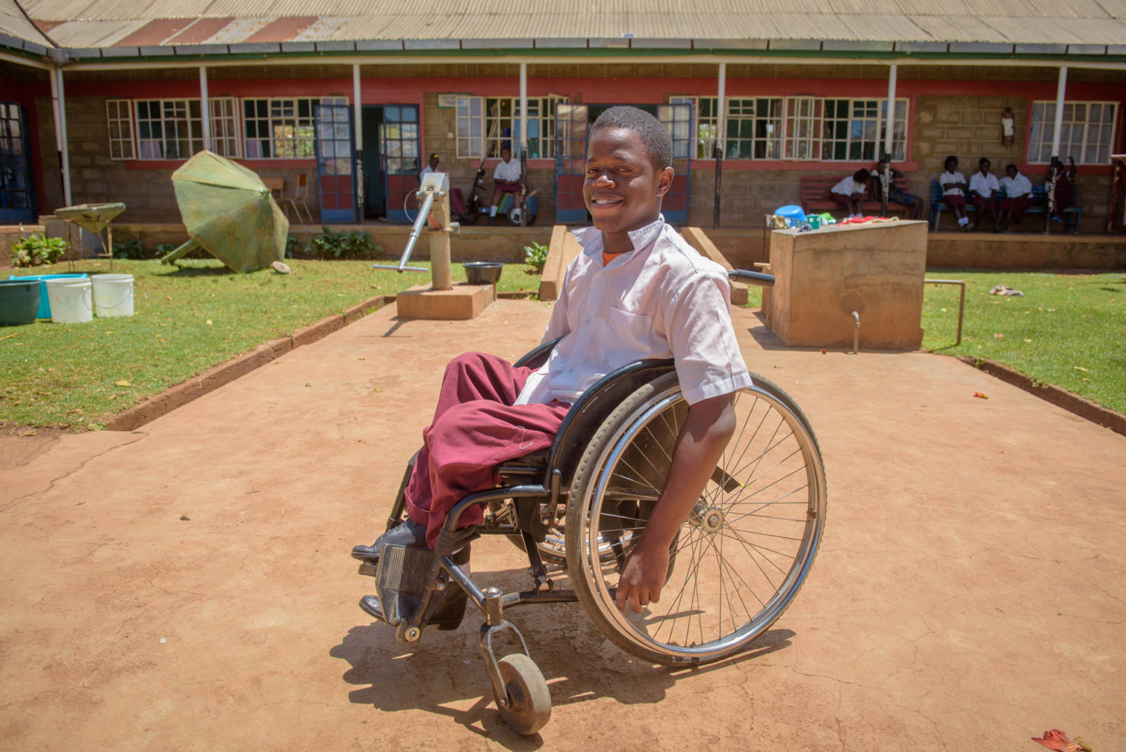 "Fidel Otieno received a brand-new wheelchair when he came to Nyabondo Rehabilitation Center in Katito, Kenya. ""The wheelchair has changed my life. I can do things on my own now,"" he says."