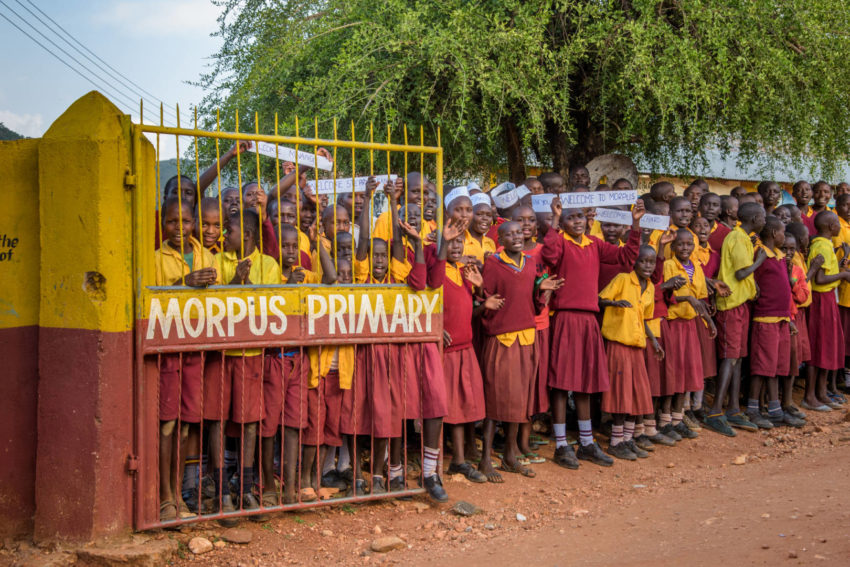 Students line the entrance to Morpus Primary School.