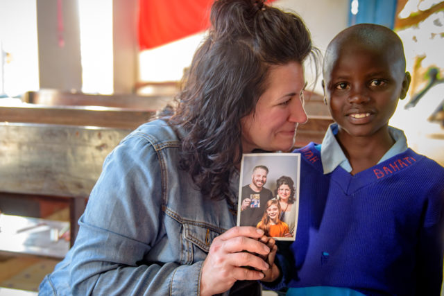 Jeanne Stevens and the child who chose her as her sponsor