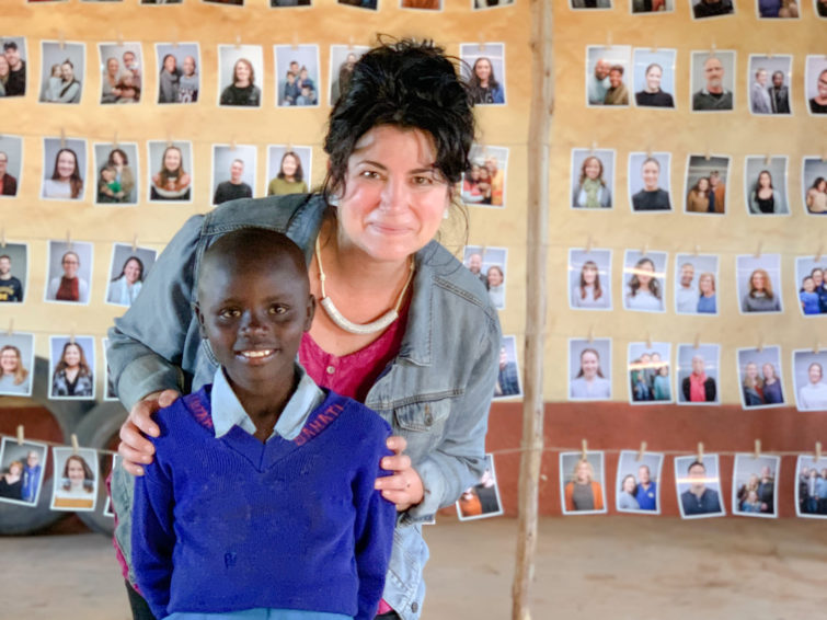 Jeanne Stevens with a child who chose her as her sponsor