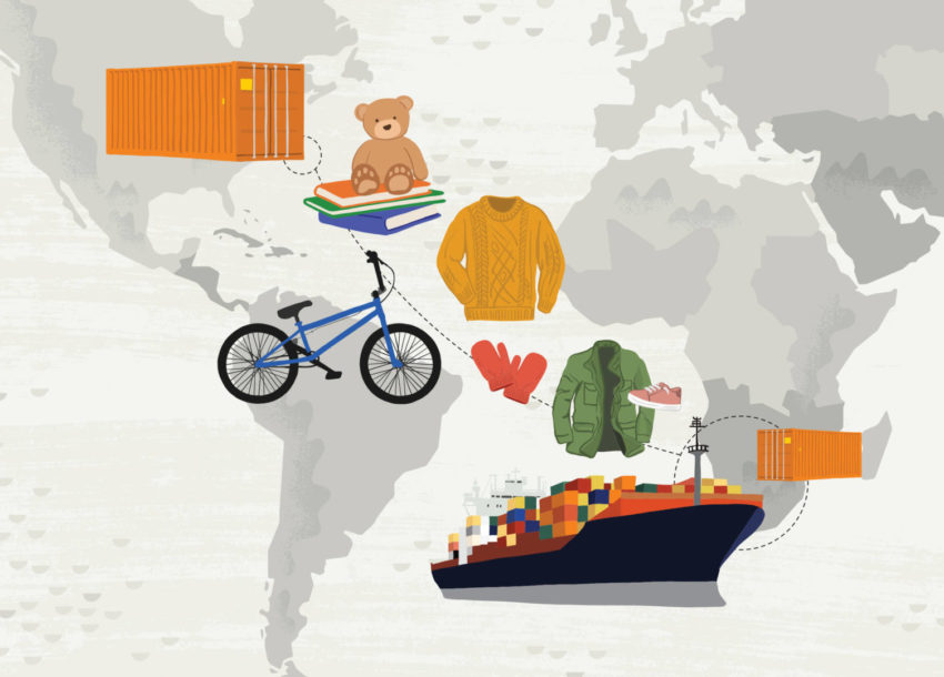 An illustration of a shipment of aid headed to Zambia.