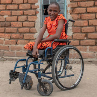 12 year old Wavinya in wheelchair