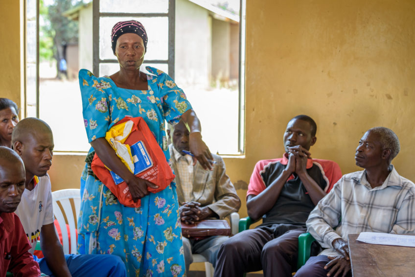 An interfaith Channels of Hope group facilitated by World Vision meets in Hoima, Uganda. Through Channels of Hope, World Vision trains faith leaders to understand and address the most serious issues that affect a community, including HIV and AIDS.
