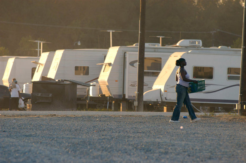 Many people were displaced for months or years. More than 500 trailers provided by FEMA cover a gravel lot north of Baton Rouge for families forced to evacuate following Hurricane Katrina.