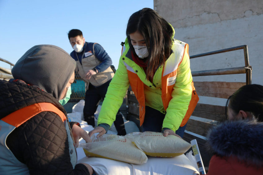 World Vision staff during a food distribution in Mongolia.