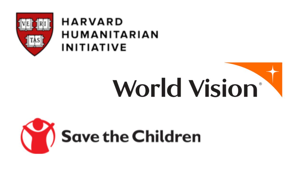 Harvard Humanitarian Initiative, World Vision, and Save the Children logos