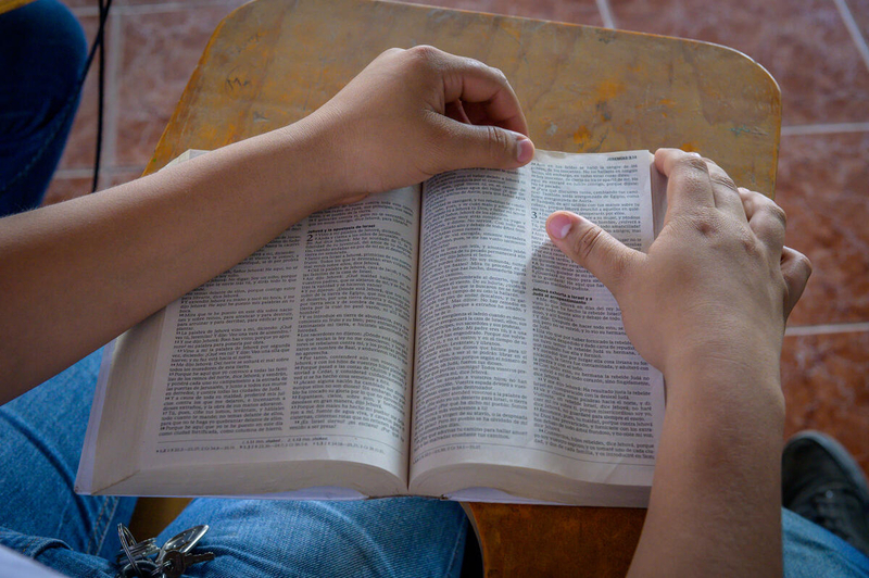 A person holds a Bible.