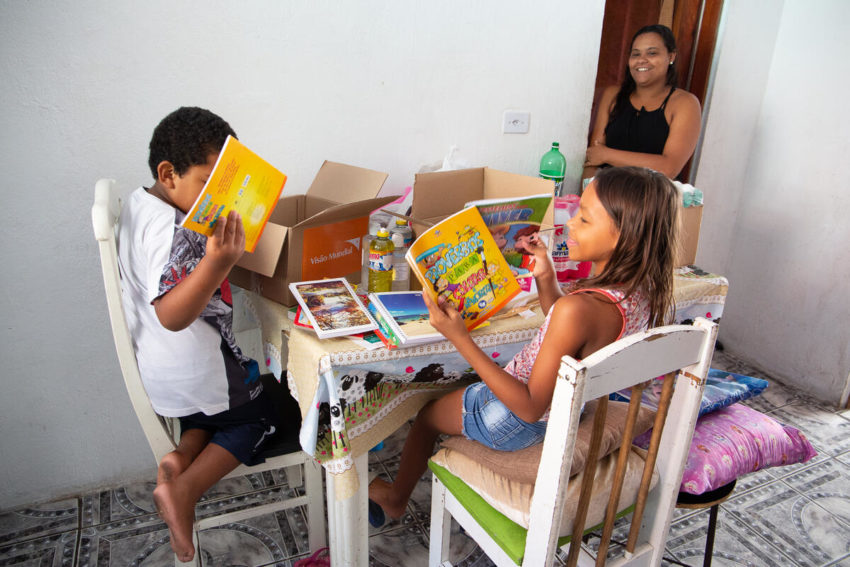 In São Paulo, Brazil, World Vision provided a family with household goods and activities for the kids while they're out of school during the coronavirus pandemic.