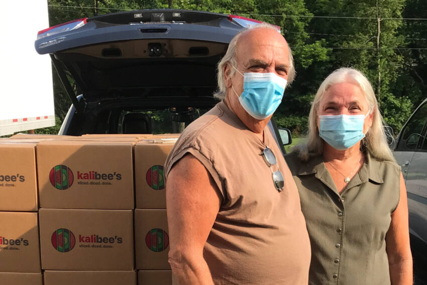 Cathy and Bill Riley pick up Fresh Food Boxes at World Vision's Appalachia Storehouse.