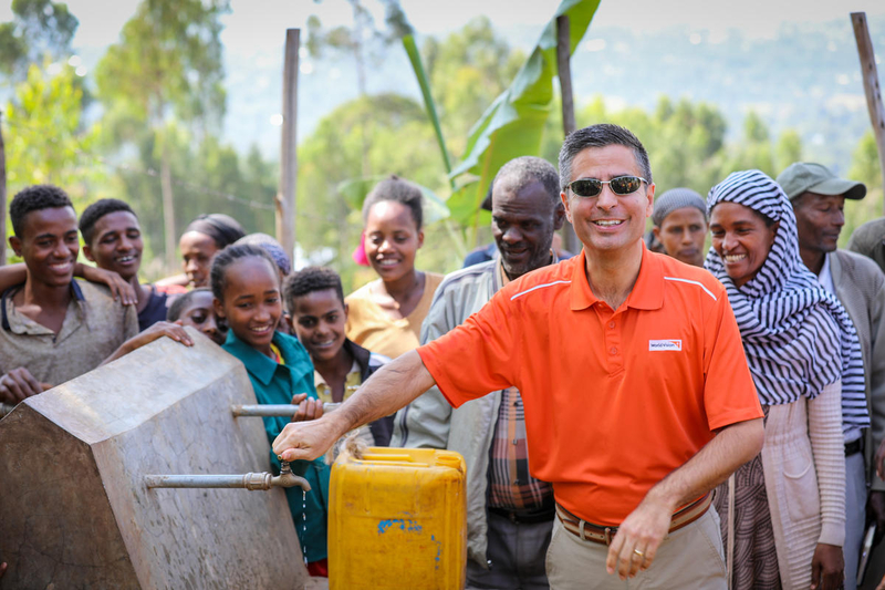 World Vision U.S. President and CEO Edgar Sandoval Sr. visits the Well of Prayer in Ethiopia.