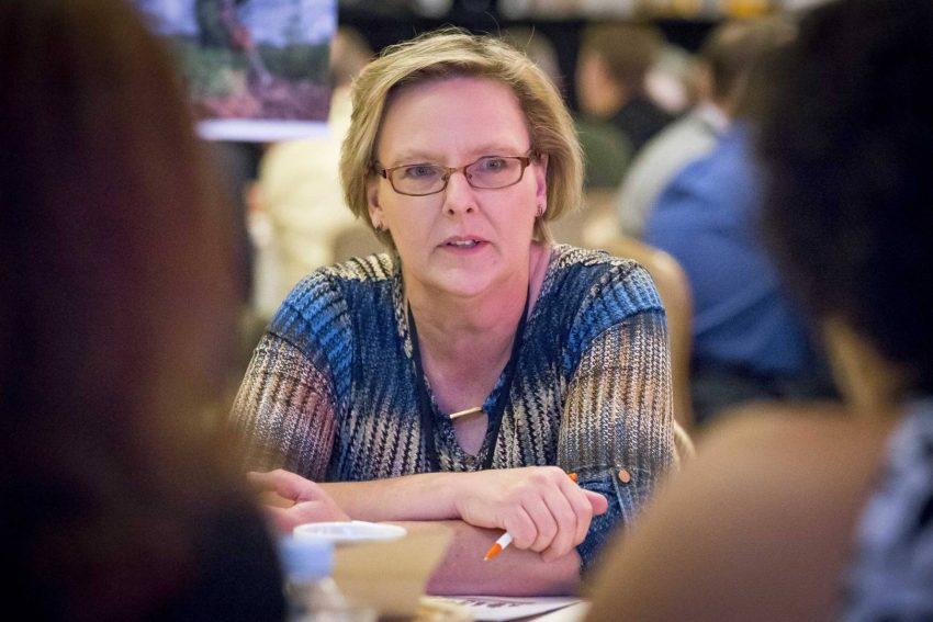 Sherrie Woodring listens to a roundtable discussion at a 2017 conference in California about the Every Last One campaign.