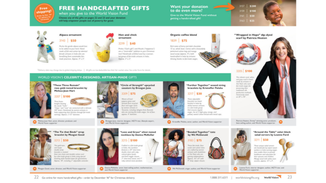 World Vision Gift Catalog Celebrity Ambassadors and Artisan-made gifts 2021