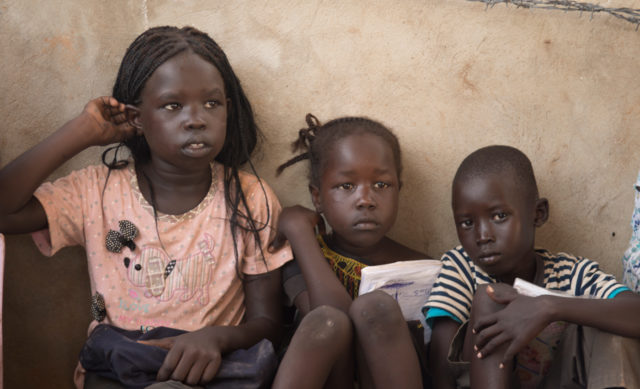 These three children are among tens of thousands internally displaced by the conflict in South Sudan. PHOTO: World Vision / Melany Markham
