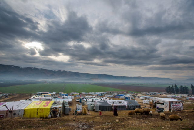 A picture of one of the many tented settlements, home to Syrian refugees who have fled conflict and now live in the Bekaa Valley, Lebanon. PHOTO: World Vision/Jon Warren