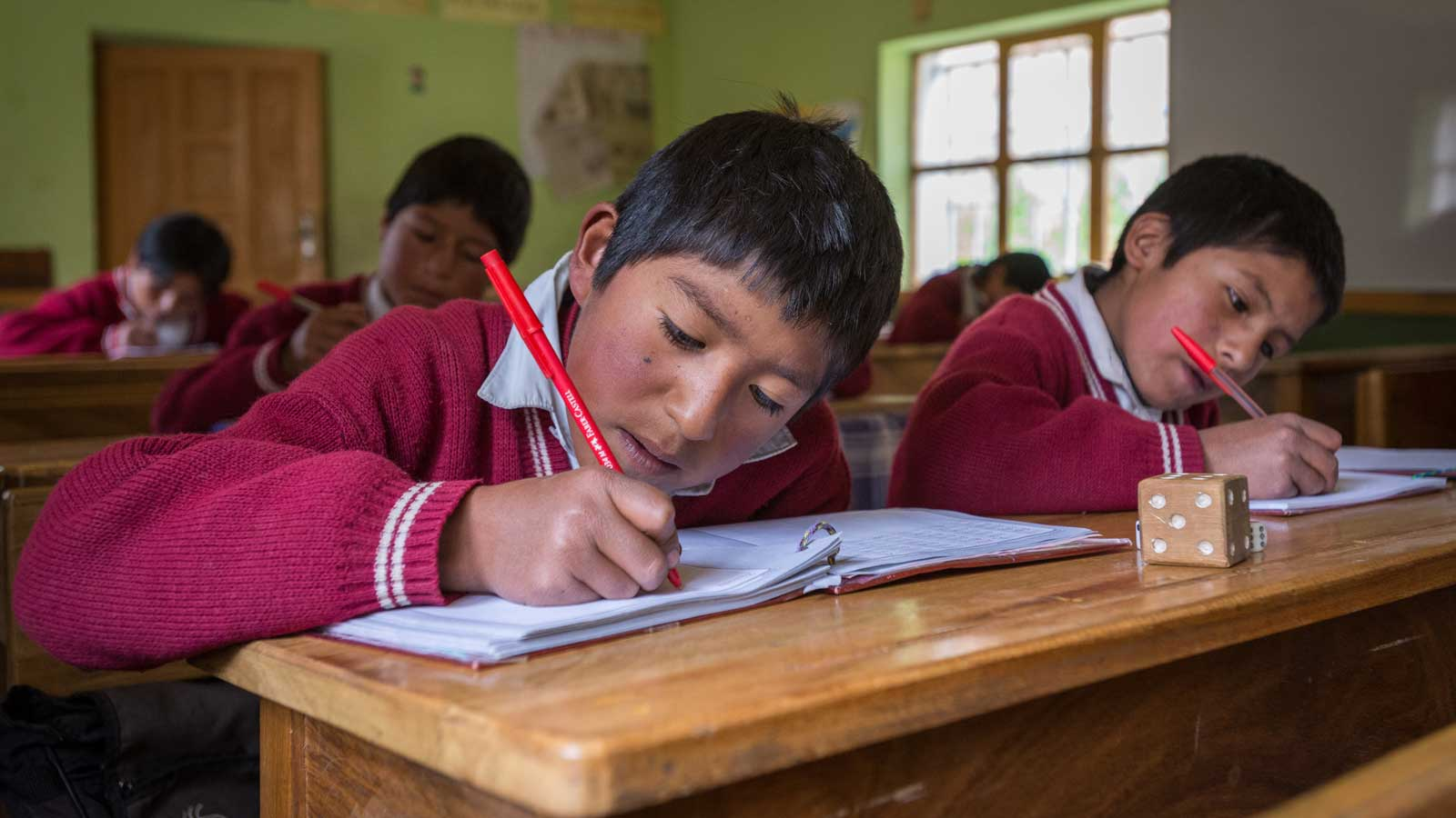 To help education in Bolivia, World Vision helped train elementary school teachers were trained in fun methods for teaching math, language, and reading to help kids improve their academic performance.