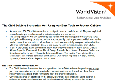 Child Soldier Prevention Act waivers - World Vision 2014 (PDF)