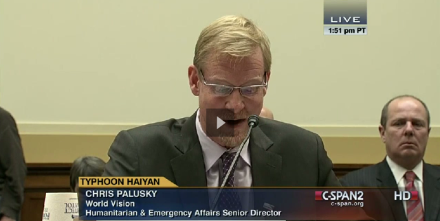 World Vision Senior Director of Humanitarian Affairs and Emergency Response Chris Palusky testifies to Congress on December 3, 2013.