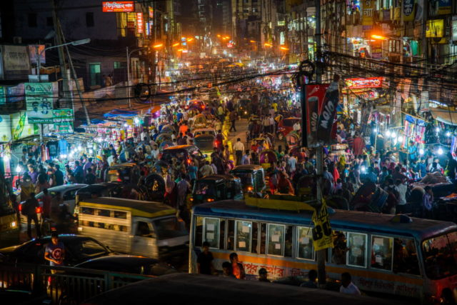 Dhaka, the capital and largest city in Bangladesh, is a magnet for poor people seeking their fortune. The metropolitan area is home to about 17 million people. (©2013 World Vision, Jon Warren)