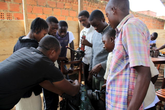 Former child soldiers getting vocational training. ©2013 Kayla Robertson for World Vision UK.