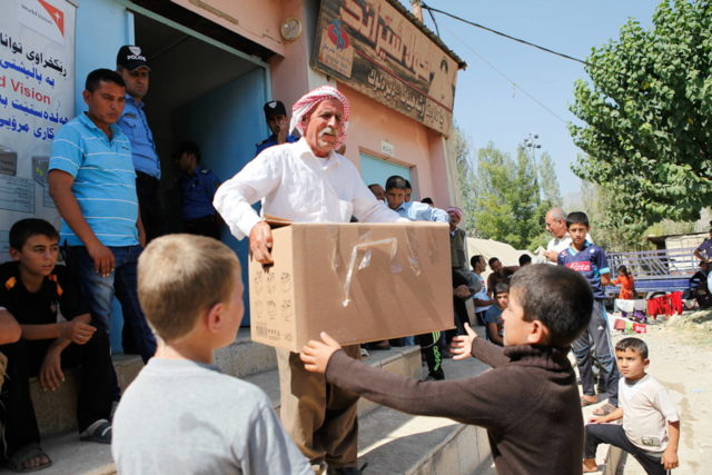 World Vision has been distributing aid to displaced Iraqis in the Kurdish Region of Iraq since conflict began in 2014. (©2014 World Vision, Meg Sattler)
