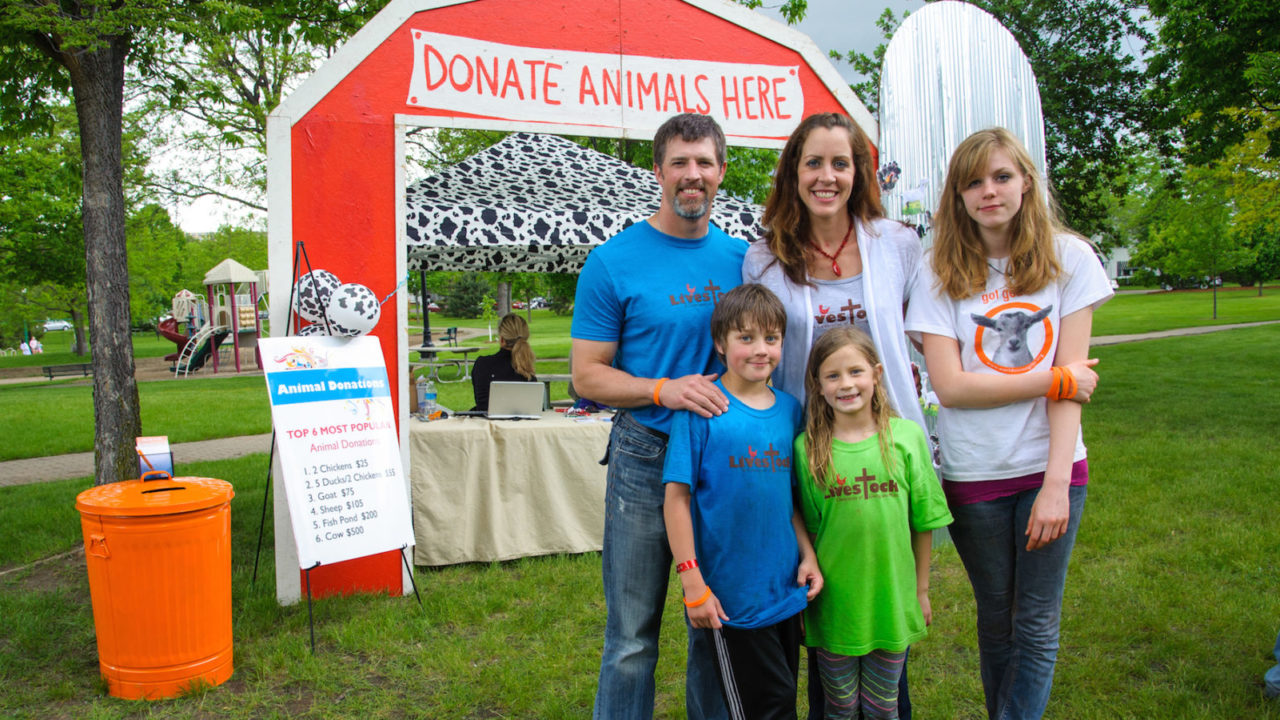 "When Jill and Alex Hass were at their lowest point—unemployed, with their dream home in foreclosure and no money to pay for electricity or buy groceries for their children—they decided to raise money to help people who might be in more need than them. They organized a backyard potluck, invited a few bands, called the event ""Livestock"" and raised money to donate to World Vision's Gift Catalog, providing animals to families in need around the world. In five years, Livestock has grown to one of the biggest events in their town of 11,000 in Minnesota, this year raising more than $30,000 for the Gift Catalog."
