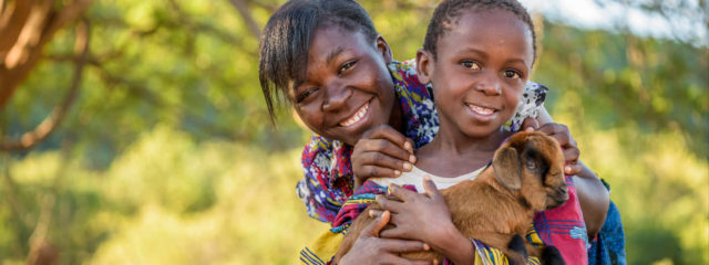 Girls saved from early marriage by a goat ©2016 World Vision/photo by Jon Warren.