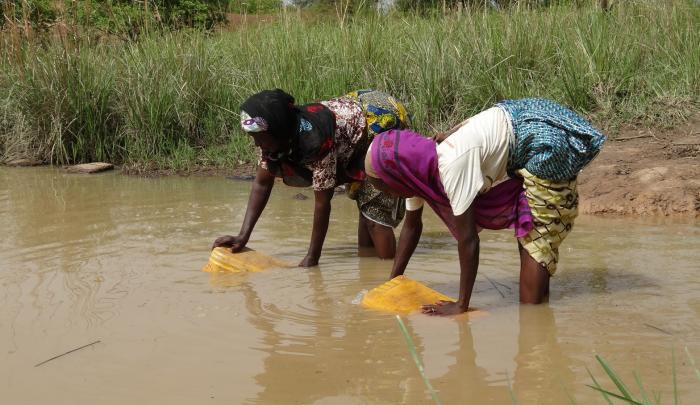 A pond is the usual water source is this community in Gberami, Ghana