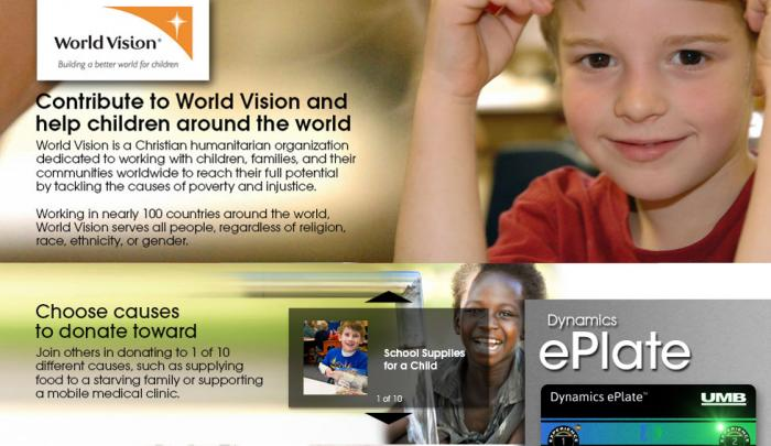 Contribute to World Vision and help children around the world ... through the Dynamics ePlate.