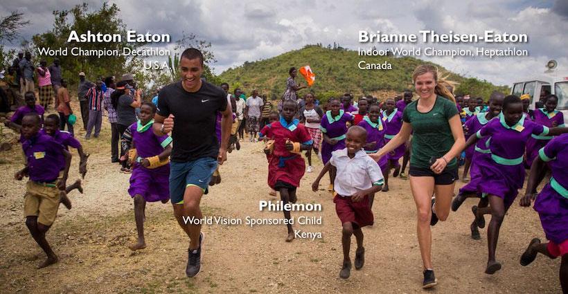Ashton Eaton and wife Brianne Thiesen-Eaton run with World Vision sponsored child, Philemon in Kenya ©2016 World Vision, Lindsay Minerva