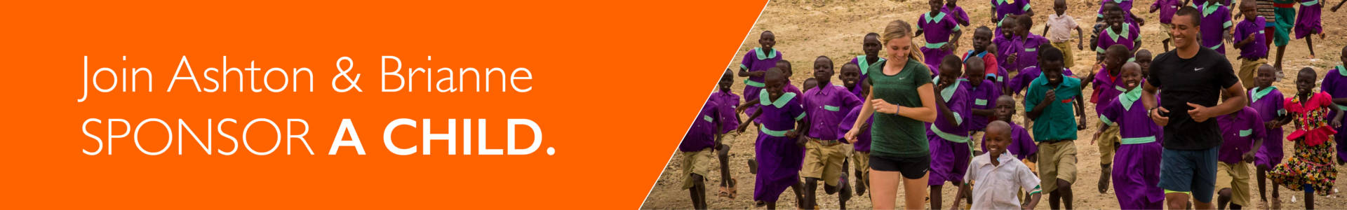 Ashton Eaton, Brianne Theisen-Eaton and sponsored child in Kenya ©2016 World Vision, Lindsay Minerva