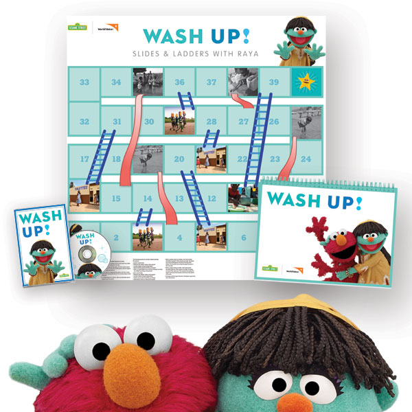The Sesame Street™ WASH UP! Kit features Elmo and Sesame's lovable new Muppet™ Raya.