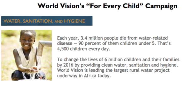To change the lives of 6 million children and their families by 2016 by providing clean water, sanitation and hygiene. World Vision is leading the largest rural water project underway in Africa today. PHOTO: World Vision