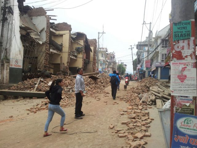 Streets in Kathmandu filled with rubble and toppled buildings following the 7.8 quake. PHOTO: World Vision
