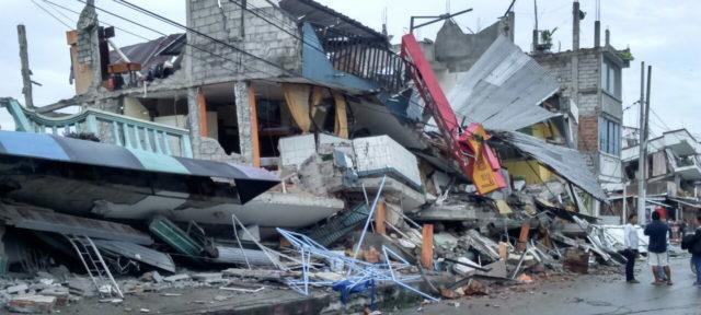 Ecuador earthquake destruction in Manabi.