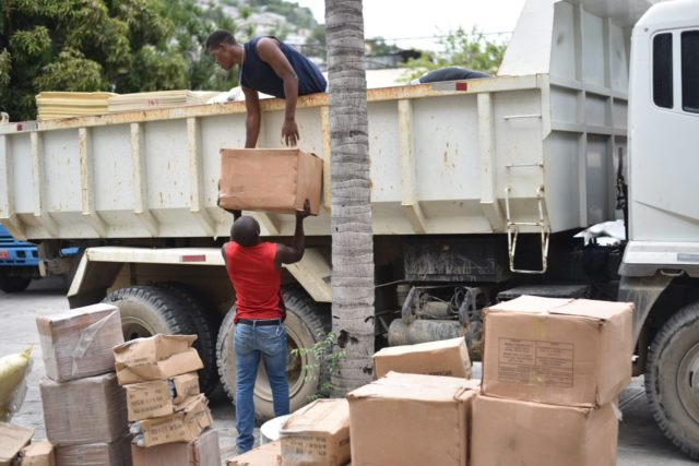 In Port-au-Prince, Haiti, staff transport relief supplies in preparation for Hurricane Matthew. (©2016 World Vision, Guy Vital-Herne)