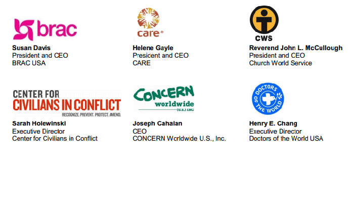 Signatories to this InterAction release include: BRAC USA, CARE, Church World Service, Center for Civilians in Conflict, CONCERN Worldwide U.S.A. Inc., Doctors of the World U.S.A. ...