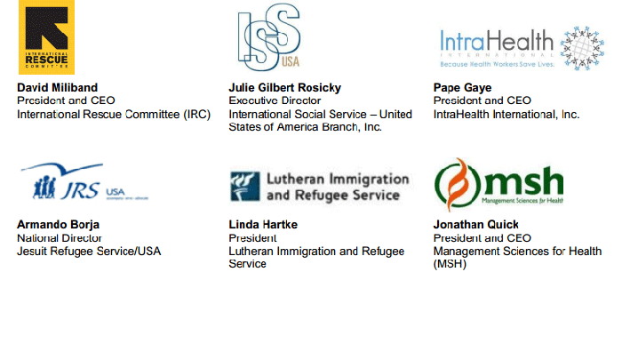 Signatories to this InterAction release include: International Rescue Committee (IRC), International Social Service – United States of America Branch Inc., IntraHealth International Inc., Jesuit Refugee Service/USA, Lutheran Immigration and Refugee Service, Management Sciences for Health (MSH) ...