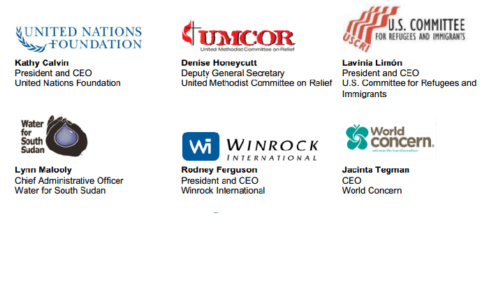 Signatories to this InterAction release include: United Nations Foundation, United Methodist Committee on Relief, U.S. Committee for Refugees and Immigrants, Water for South Sudan, Winrock International, World Concern ...