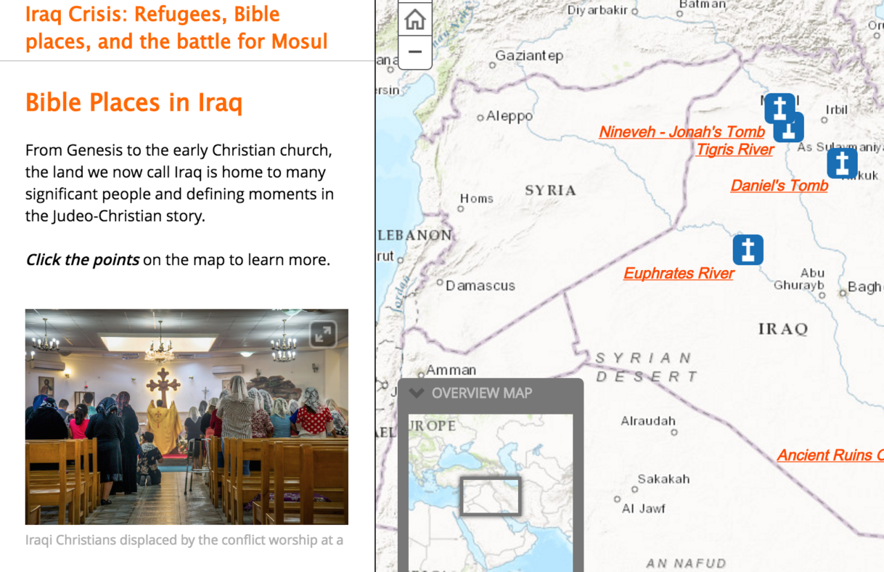 Iraq story map screenshot: Mosul conflict, World Vision response