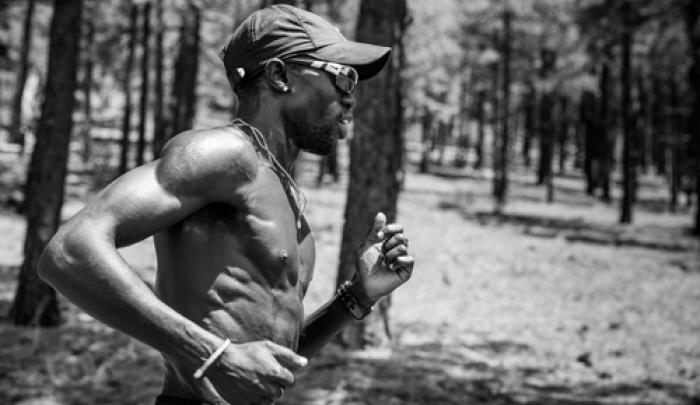 Lopez Lomong trains in Flagstaff, Arizona for the 2012 Olympics.