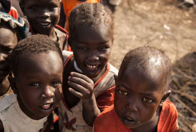 South Sudan, children pictured in the Malakal POC (protection of civilians) site. The IDP camp was set up to provide protection and services to people who fled violence during the South Sudan civil war.