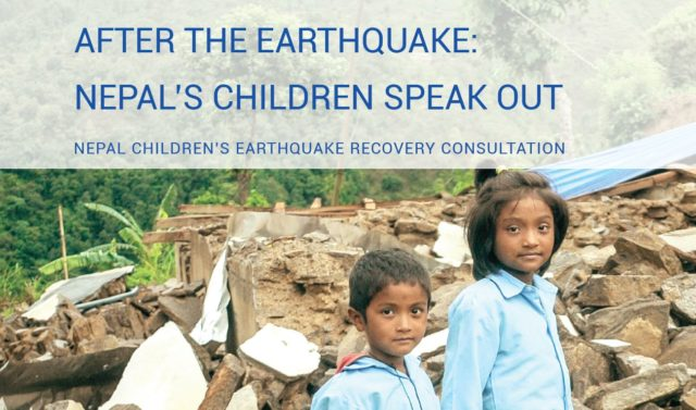 Cover of the report 'After the Earthquake: Nepal's children speak out