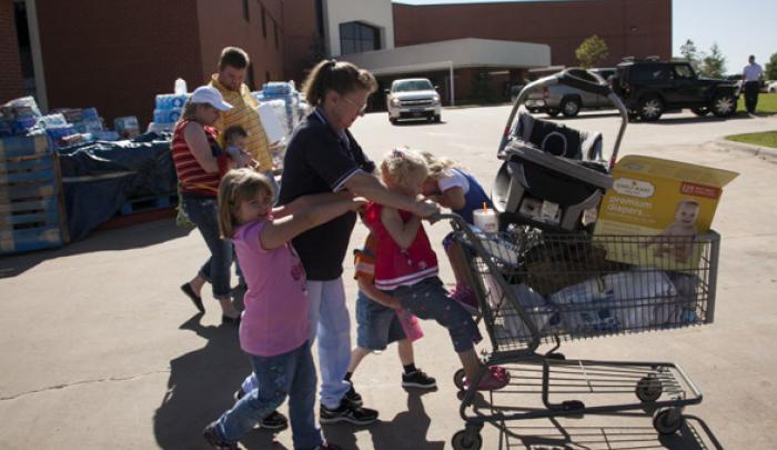 Oklahoma tornado survivors receive emergency supplies.
