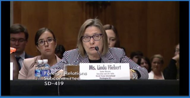 Linda Hiebert, World Vision International's Partnership Leader, Education and Life Skills testifies at the United States Senate on Foreign Relations Sub-Committee hearing, Barriers to Education Globally: Getting Girls in the Classroom,