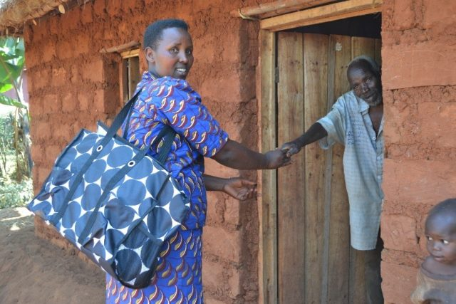 Health educator Renathe lives in Burundi and uses her Thirty-One Gifts tote bag to carry her teaching materials as she travels throughout her community. PHOTO: World Vision